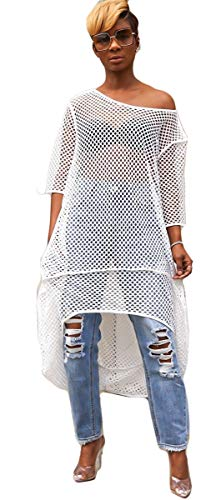 Recious Womens Sexy Half Sleeve O Neck Fishnet See-Through Bodycon Party Clubwear Beach Cover Up Shirts Dress White