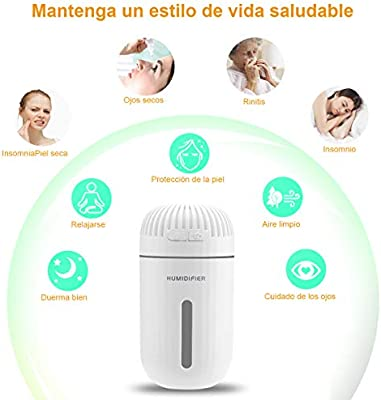 DA HENG Humidificador, 310ml Humidificador Aromaterapia de Coche ultrasónico 7 Colores con un Ventilador y una lámpara, Humidificador de Niebla fría ...