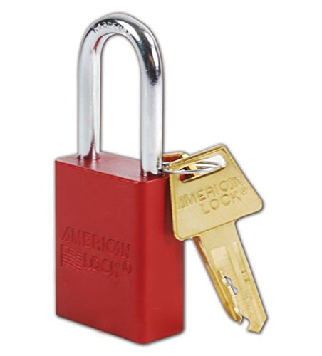 Master Lock A1106RED Aluminum Red Safety Padlock with 1/4' x 1-1/2' Shackle American Lock