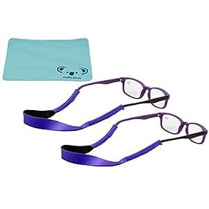 Croakies Kids Neoprene Eyewear Retainer Childrens Glasses Strap | Eyeglass and Sunglass Holder | Boys and Girls Sports Use | 2pk Bundle + Cloth, Purple