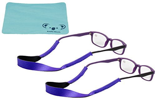 Croakies Kids Neoprene Eyewear Retainer Childrens Glasses Strap | Eyeglass and Sunglass Holder | Boys and Girls Sports Use | 2pk Bundle + Cloth, - Glasses Youth Reading
