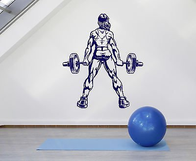 Vinyl Wall Decal Muscle Woman Gym Fitness Bodybuilding Sports Stickers (vs4569)