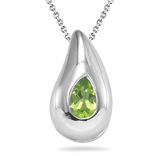 0.41-0.46 Cts of 6x4 mm Pear Peridot Drop Solitaire Pendant in Silver