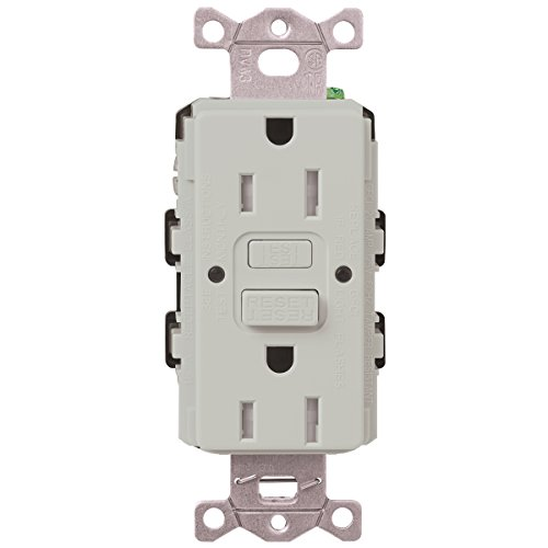 Lutron SCR-15-GFST-PD Claro Satin Colors 15-Amp Self-Testing Receptacle, Palladium (Palladium Satin)