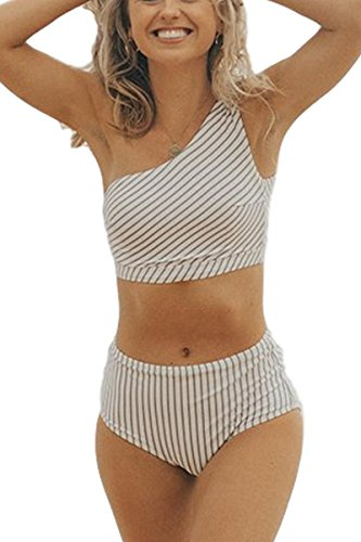 - AdoreShe Women's Blue White Breezy Stripe Two Piece Swimsuit,One Shoulder Swimwear Bathing Suit Sold Seperately (A18063,Bottom,L)