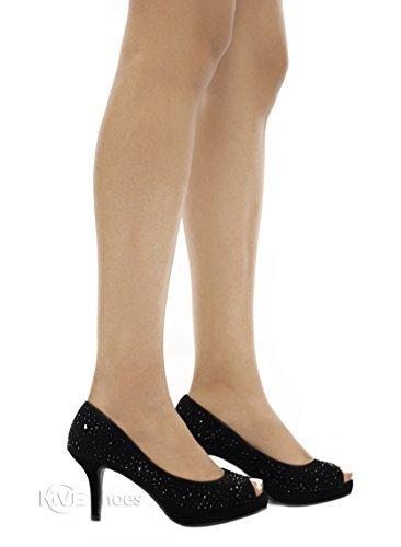 Frank Black Peep Toe Glitter Rhinestone Stud High Heel Dress Pump w Comfortable Insole - 7.5