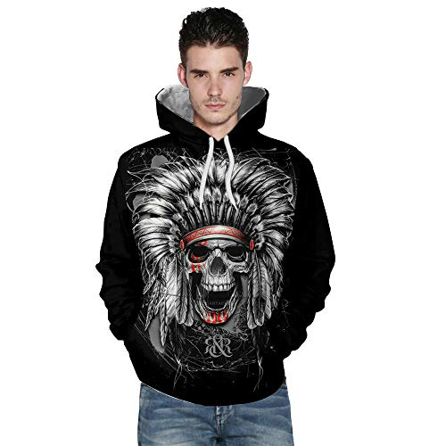 Hot Sale,WUAI Halloween Costumes for Men 3D Printing Casual Hooded Sweatshirt Fashion Skull Personality Outwear(Black ,US Size XL = Tag 2XL) -