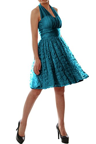 MACloth Women Halter Lace Short Bridesmaid Dress Wedding Party Cocktail Gown Teal