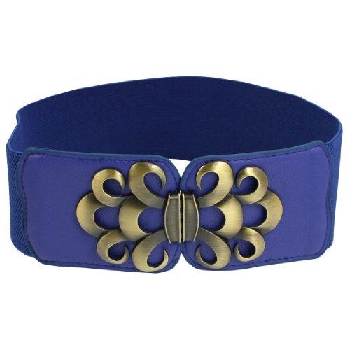 Lady Faux Leather Metal Interlock Buckle Elastic Waist Belt - Leather Cinch Elastic Belt