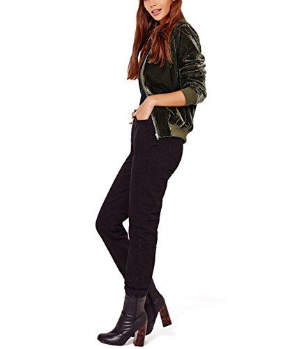 Invernali Battercake Manica Eleganti Con Collo Cappotto Colori Autunno Giacca Velluto Donne Pilot Chiusura Coreana Casuale Outwear Solidi Fashion Giacche Lunga Bomber Donna Casual Cerniera Verde A 1H1Yqr