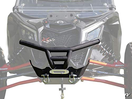 (SuperATV Heavy Duty Winch Ready Front Bumper/Brush Guard for Can-Am Maverick X3 (2017+) - Black - SEE FITMENT BELOW)