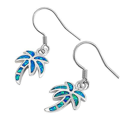 Opal Palm Tree - Lab Created Blue Opal Palm Tree Dangling .925 Sterling Silver Earrings