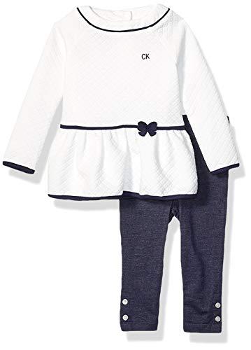 Calvin Klein Baby Girls 2 Pieces Leggings Set, Vanilla/Navy, 6-9 Months