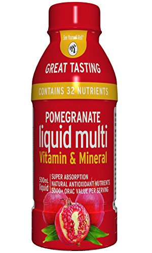 Pomegranate Liquid Multivitamins: Vitamins A B C D E, and Mineral Supplement. Superfood - Super Absorption. Natural Antioxidant. 1 oz Equals 8 oz of Pomegranate Juice. No Sugar Added. Vegan. Non-GMO.