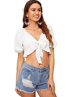SweatyRocks Women's Casual Open Front Tie Knot Crop Top Puff Sleeve Ruffle Chiffon Short Blouse Shirt