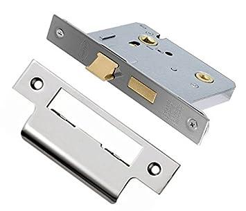 XFORT® 3 Lever Sashlock, 65mm/2.5inch, Mortice Sashlocks for Internal Doors, Door Lock with Keys, Lock & Key Door Security, Fire Rated to EN1634-1 Standards (Polished Chrome) Maher London Ltd
