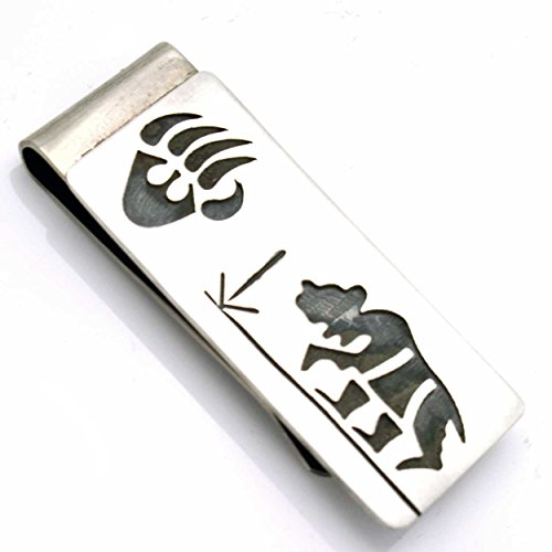 (Hopi Sterling Silver Money Clip Featuring Bear, Bear Paw & Prayer Feather Symbols... )