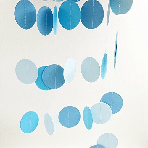 Sky Blue Paper Garland Circle Dots Hanging Happy Birthday Baby Boy Shower Wedding Party Decoration, 2.5 inch, 26 feet in Total (Garland Felt Snowflake)