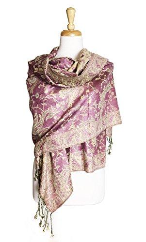 Paskmlna Reversible Paisley Pashmina Shawl Wrap Elegant Colors - Jacquard Wrap