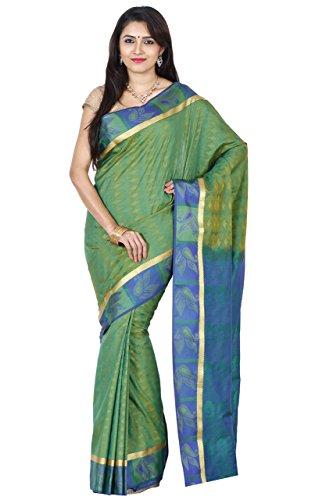 RR And Sons Women's Kanchipuram Silk Sarees Free Size Parrot Green