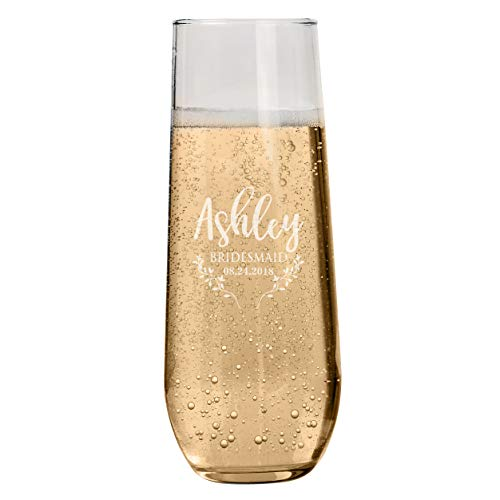 Set of 1-6 Personalized Bridesmaid Stemless Champagne Flutes, Bridesmaid Gifts, Toasting Glasses for Wedding, Bridal Party, Engraved Bridal Shower Champange Glasses - Maid of ()