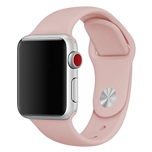 Zyra Sport Band for Apple Watch 38mm S/M, Soft Silicone Strap Replacement iWatch Bands for Apple Watch Sport, Series 3, Series 2, Series 1 Pink Sand