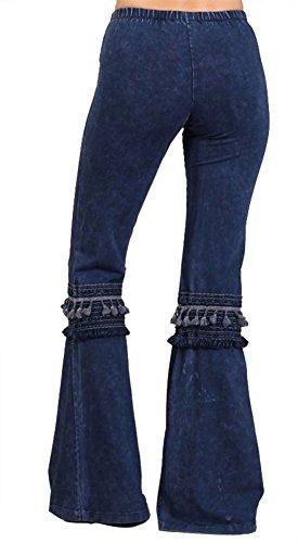 Chatoyant Women's Tassel Bell Bottom Stretch Yoga Pants (Small, Dark Denim Blue) by Chatoyant (Image #2)