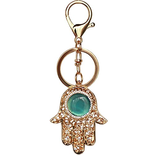 Bolbove Hamsa Hand Keychain Sparkling Keyring Crystal Rhinestones Purse Pendant Handbag Charm -