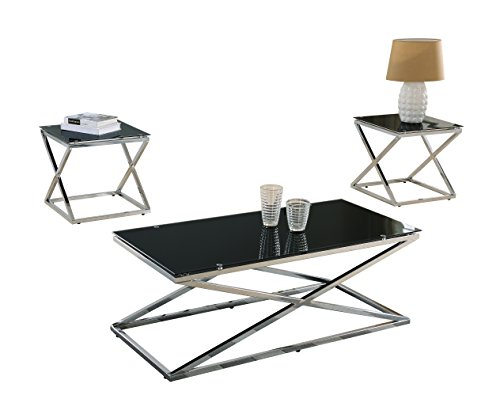 Pilaster Designs Coylin Chrome Glass Cocktail Coffee Table - Cocktail end table sets