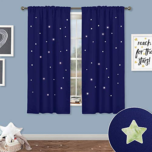 NICETOWN Blackout Curtains for Kids Room - Rod Pocket & Back Tab Space Inspired Night Sky Twinkle Star Bedroom Window Treatment Draperies Panels, Navy Blue, Set of 2 Panels, 52 Wide x 63 Long inches (Color Blue Wall For Sky Curtain)