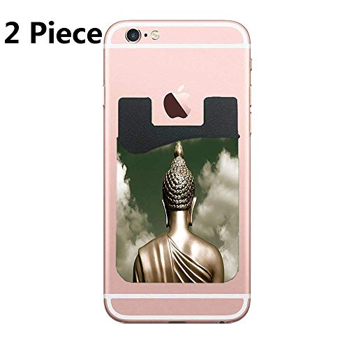 TysoOLDPhoneC Sepia Tones Praying and Cloudy Bangkok Sky Cell Phone Stick On Wallet Card Holder Phone Pocket for iPhone, Android and All Smartphones - 2 Piece ()