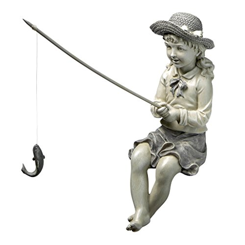 Design Toscano EU9305 Big Catch Fisherwoman Girl Fishing Garden Statue, Two Tone Stone ()