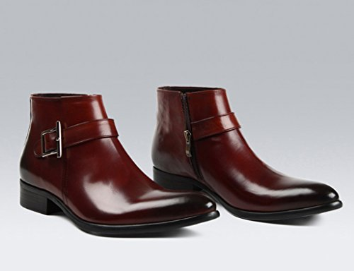 Zapatos Clásicos de Piel para Hombre Zapatos de tacón alto de los hombres británicos acentuados cortos Martin Boots Fashion ( Color : Red-brown , Tamaño : EU37/UK4-4.5 ) Red-brown