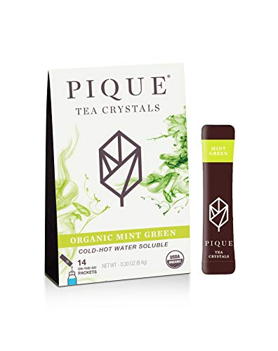 Pique Organic Mint Sencha Green Tea Crystals, Gut Health, Fasting, Calm, 14 Single Serve Sticks (Pack of 1)