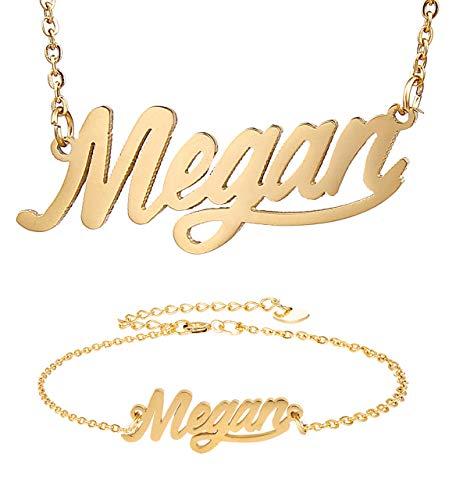 HUAN XUN Megan Script Name Necklace Bracelet Initial in ()