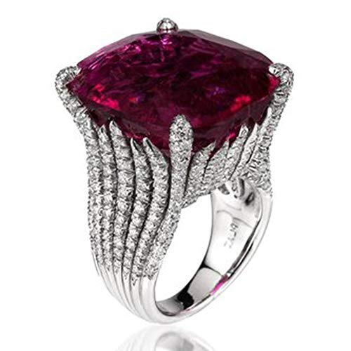 FEDULK Womens Dazzling Natural Ruby Diamond Engagement Antique Ladies Gifts Light Luxury Rings(Silver, 8)