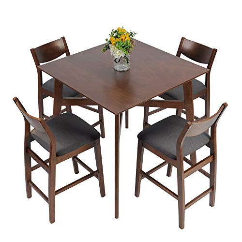 LUCKYERMORE 5 Piece Counter Height Table Set Kitchen Dining Room Breakfast Table and 4 Chairs Pub Bar Stools Modern Mid Century Dinette Set
