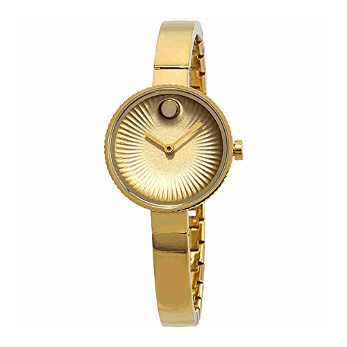 Movado Womens Swiss Edge Gold-Tone Stainless Steel Bangle Bracelet Watch 3680021