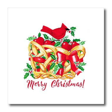 3dRose Russ Billington Christmas Designs - Merry Christmas- Red Cardinal with Holly on Fruit Basket - 10x10 Iron on Heat Transfer for White Material (ht_261727_3)