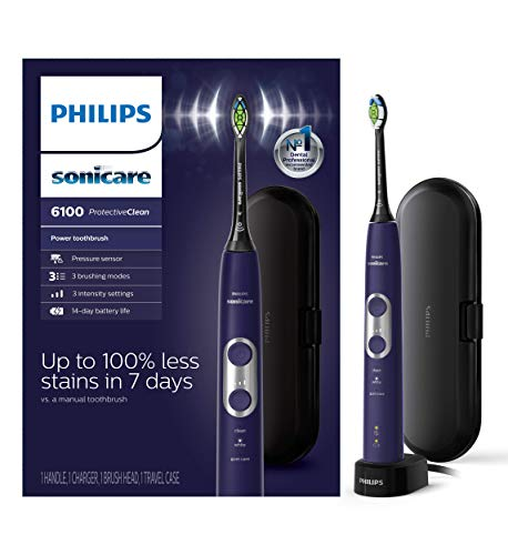 Philips Sonicare, ProtectiveClean 6100 Rechargeable Electric Toothbrush HX647103, Deep Purple, 1 Count