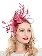 Fascinators Hat for Women Tea Party Headband Fancy Dress Accessories Wedding Cocktail Flower Mesh Feathers Hair Clip