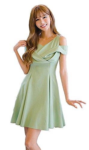 家畜空白調べる(ミニマリ) minimali 結婚式 ドレス レディース フェミニン 肩出し Aライン タックフレア パーティー ワンピース