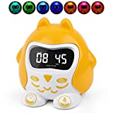Sleep Training Alarm Clocks for Kids, Toddlers, Baby, Sleep Sound Machine with 9 Lullabies & White Noise, 7 Color Night Light Soother Time To Wake, Plug in or Battery Operated Bedroom Clock for Travel