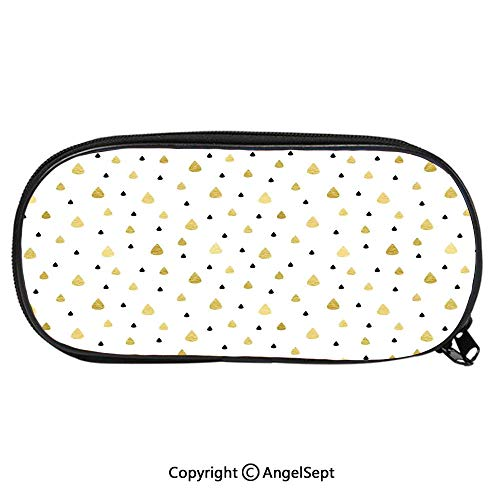 - Unisex Student Pencil Case Pen BoxGold Rain Drops Pattern Downpour Moisture Condensed from Atmosphere Artsy Work Stationery Bag Cartoon Pouch Bags with Double Zippered for Girls BoyWhite