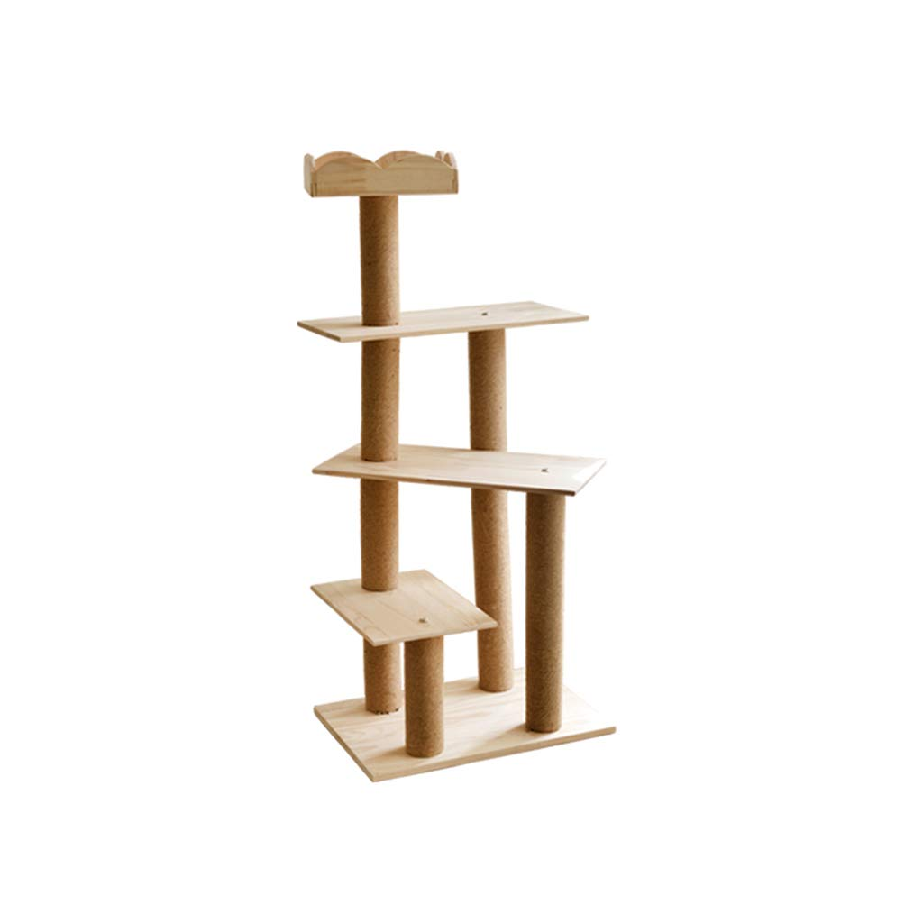 Natural 50cm50cm110cm Natural 50cm50cm110cm Siler Cat Tree, Medium Wooden Cat Climbing Frame Multi-Layer Observation Deck Cat Tower Cat Scratch Board SL-017 (color   Natural, Size   50cm50cm110cm)