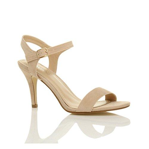 Damen Hoch Absatz Party Strappy Fesselriemen Riemchensandalen Schuhe Größe 6 39