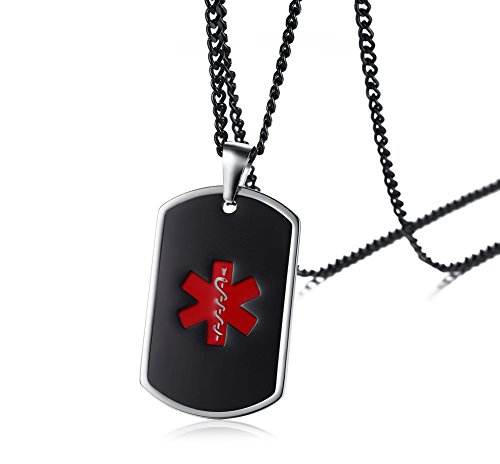 Free Engraving Stainless Steel Two-tone Black Red Medical Symbol Alert ID Dog-tag Pendant Necklace,24