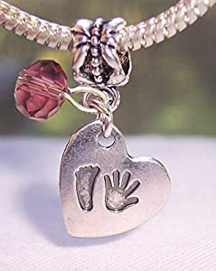 Footprint Hand Print Heart February Birthstone Baby Charm for European Bracelets