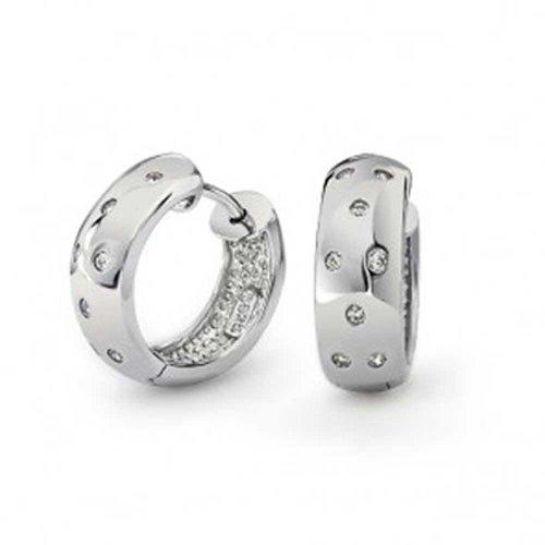 Zig Zag Bezel Set Cubic Zirconia Wide Kpop Huggie Hoop Earrings For Women For Men Polished 925 Sterling Silver