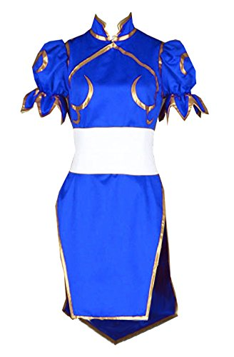 [LYLASCosplay Costume Halloween Party Kids or Women's Cheongsam Dress (Custom made, Blue)] (Street Fighter Kid Costume)